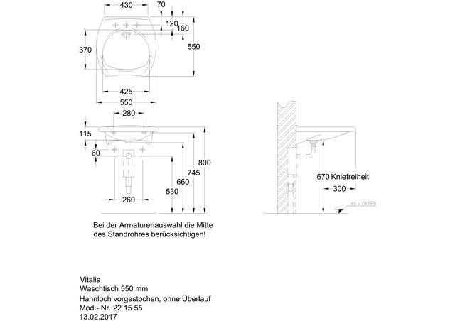 Vitalis Waschtisch 550x550mm Ihr Sanitärinstallateur Aus Radebeul